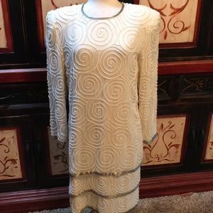 Laurence Kazar ivory beaded layered VTG midi dress